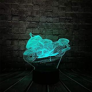 ZXYD Motorrad 3D LED USB Lampe Auto-Styling Mann Geburtstagsgeschenk Jungen Raumdekoration Kreative Nachtlicht Kinderspielzeug,USB Touch-Schalter