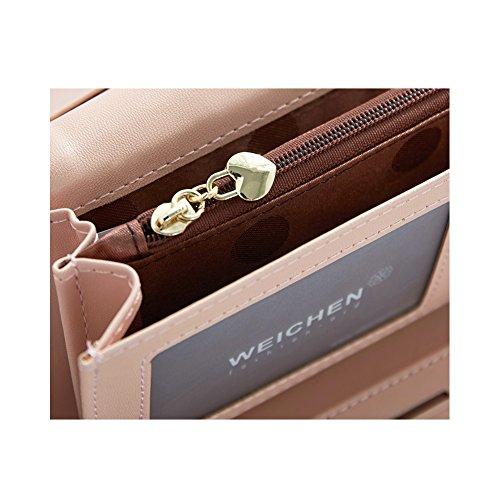 PU Piega Lunga Pelle moda donna Portafoglio borsa Ecopelle Wallet raccoglitore Pocket Portamonete Rosa