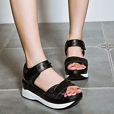 RUGAI-UE Les femmes d'été occasionnels Sandales Chaussures talons Wedge PU confort,blanc,US9 / EU40 / UK7 / CN41 Black