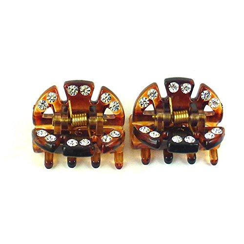 rougecaramel - Accessoires cheveux - Pince crabe cheveux strass 2pcs - écaille marron