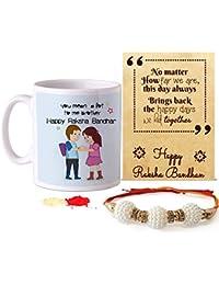 Tied Ribbons Rakshabandhan Gifts for Brother (Designer Rakhi, Printed Coffee Mug, Rakshabandhan Special Card, Roli Chawal)