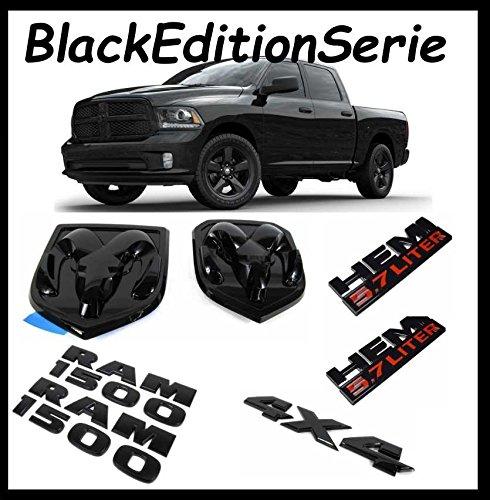 Black-Edition-Serie-7-teiliges-Emblem-Set-Hemi-57L-Emblem-Ram-1500-Emblem-4X4-Emblem-Heckklappenemblem-Khlergrillemblem