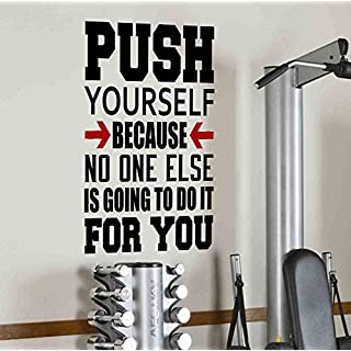 DesignDivil Push Yourself Because No One Else Is Going To Do It For You Wall Decal Motivational Quote-Health and Fitness Spinning Kettlebell Workout Boxing UFC MMA