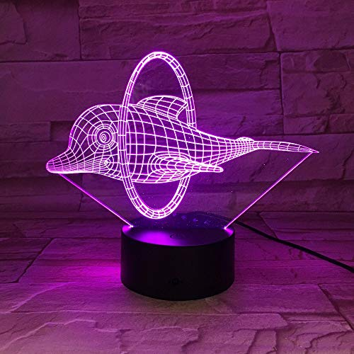 3D Dinosaurier LED Katze Tisch Lampe USB Frosch Tier 3D Shark Nacht Lichter 7 Farbe 3D Illusion Lichter für Wohnzimmer Dekorative atmosphäre lampe Delphin Eine Größe