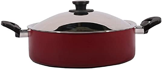 Pigeon by Stovekraft Non-Stick Biriyani Pot with Lid, 8.5 Litres,Red