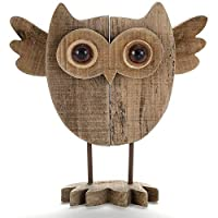 Byher Vintage Crafted Art Owl Statue (Wood) Animal Figurines for Home Decor, Living Room Bedroom Office Decoration