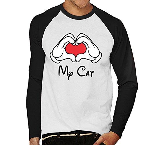 Mickey Mouse Hands Love My Cat Men's Baseball Long Sleeved T-Shirt White/Black