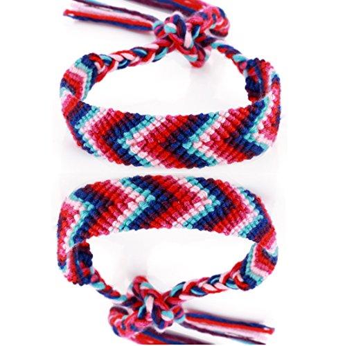 *DonDon® 2 Unisex Freundschaftsbänder – Partnerbänder geflochten blau-rot*