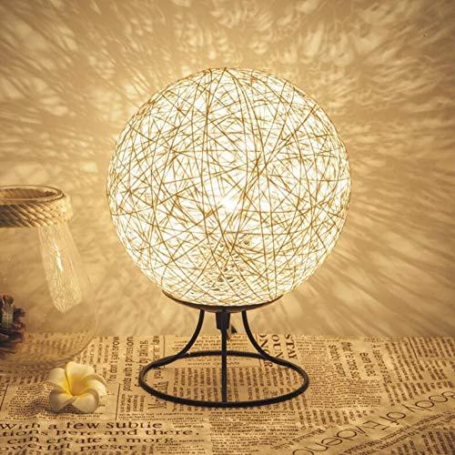 EXQULEG Hanf Ball kleine Tischlampe Schlafzimmer kreative LED Massivholz Schnur Rattan Ball Tisch Lampe Ball kleine Tischlampe USB Nachtlicht (weiß)
