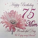 WHITE COTTON CARDS wba75-mum Geburtstagskarte für Mutter Zum 75. Geburtstag, Aufschrift