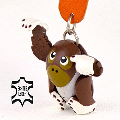 Orang-Utan Borneo - Klaus Deko Schlüsselanhänger Figur aus Leder in der Kategorie Kuscheltier / Stofftier von Monkimau in braun weiß - Dein bester Freund. Immer dabei! - ca. 5cm klein