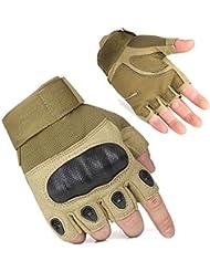 [bicicleta guantes] Adogo - Guantes de ciclismo Tech Touch mejorados para hombre, de dedo completo, color Tan Fingerless, tamaño grande