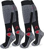 normani 4 Paar Spezial Ski Thermo Kniestrümpfe mit Thermolite Fasern und Elasthan Farbe Schwarz/Grau/Rot Größe 39/42
