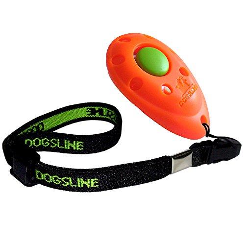 Dogsline Clicker professionnel avec dragonne élastique , training dressage pour chiens chats chevaux , colori orange , FRDL03PA