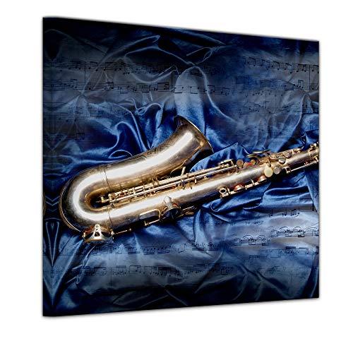 Keilrahmenbild - Saxophon - Bild auf Leinwand - 80 x 80 cm - Leinwandbilder - Bilder als Leinwanddruck - Kunst & Life Style - Saxophon auf Seidenstoff