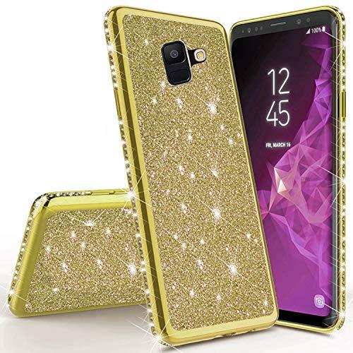 Sycode Strass Diamant Bling Glitzer Überzug Silikon Hülle Case Durchsichtig Schutzhülle für {Samsung Galaxy A8 2018} Kristall Glänzend Bumper Case HandyHülle-Gold
