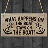 "Red Ocean ""What Happens on The Boat Stays on The Boat"" Plaque, Wood, Brown"