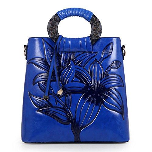 MATAGA retro handtaschen für frauen pu leder geprägt tragen taschen umhängetasche crossbody tasche im chinesischen stil JH-9818 Blau