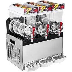 Olibelle Machine à Granita Professionnelle Cuve 3 Slush Machine Machine Electrique de Neige Fondue 400W pour la Crème Glacée 3x15L (3x15L)