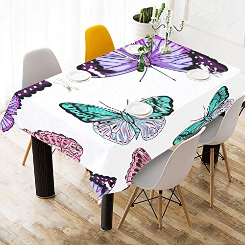 Zemivs Blooming Flower Butterfly Beauty Custom Cotton Linen Printed Square Stain Resistant Table Linens Cloth Cover Tablecloth for Kitchen Home Dining Room Tabletop Decor 60 X 84 Inch Washable (Square Marine Blau Tischdecke)
