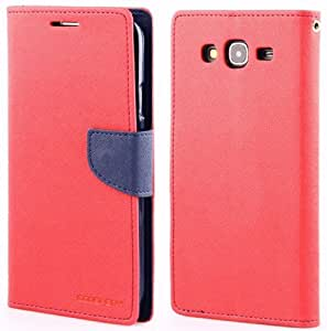 Mercury Goospery Wallet Flip Mobile Cover for Samsung Galaxy Mega 5.8 i9150 Red with Blue