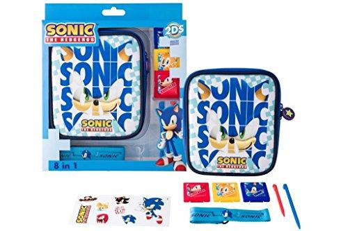 Indeca- Pack de 8 componentes para Nintendo 2DS  (incluye funda) de SONIC