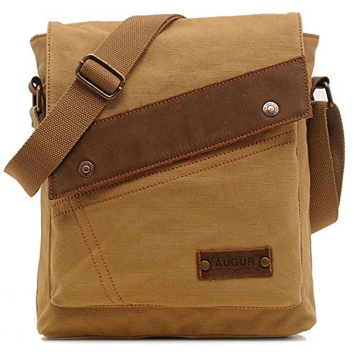 Vere Gloria Men Women Small Canvas Messenger Bag Crossbody Shoulder Handbags Ipad Laptop Bag for School Travel Hiking and Everyday Use (Khaki) by Vere Gloria -