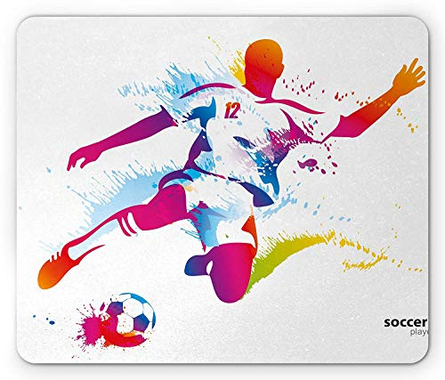 SHAQ Teen Room Mouse Pad Mauspad, Soccer Proffesional Player Kicks Ball Watercolor Style Spray Championship Image, Standard Size Rectangle Non-Slip Rubber Mousepad, Multicolor Style-kick Pads