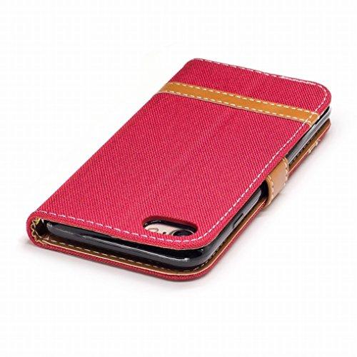 LEMORRY Cover Apple iPhone 6s Plus 5.5 Custodia Pelle Portafoglio Cuoio Flip Borsa Con Slot per Schede Sottile Protettivo Magnetico Chiusura Morbido Silicone TPU Cover Case, Stile del denim Porpora Rosso