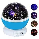 KOBWA Sternenhimmel Projektor,Sterne-Beleuchtungslampe 4 LED-Korne 360 Grad Romantik Zimmer Rotating Kosmos-Stern-Projektor für Weihnachten