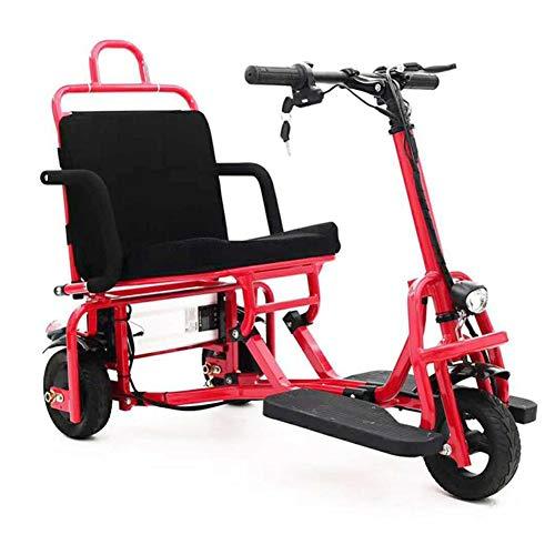 KASIQIWA Tragbares faltendes elektrisches Dreirad, Aluminiumlegierungs-leichte Lithium-Batterie 10-Zoll-Festreifen-Minidreirad für altes Alter,Red
