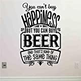 caowenhao No se Puede Comprar la Felicidad, Pero se Puede Comprar Cerveza, Vinilo Decorativo, Vinilo, Vinilo, decoración para el hogar, Arte de Pared, decoración de Pared, 黑色 90 x 58 cm