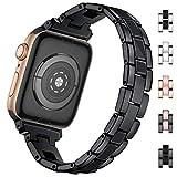 HUMENN Kompatibel mit Apple Watch Armband 38mm 40mm 42mm 44mm, Uhrenarmband Ersatzband aus Edelstahl für iWatch Series 5 4 3 2 1, 38mm/40mm Schwarz