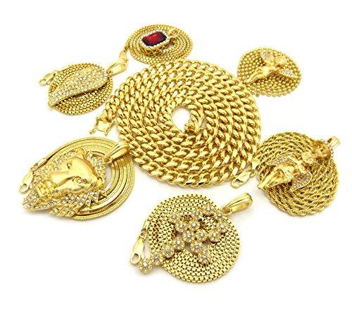 Colliers à pendentifs Hip Hop et chaîne Miami Cuban l.8 mm L.76 cm 1860 Ton or