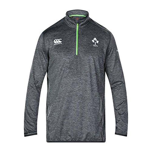 Canterbury Ireland IRFU 2017/18 Players 1/4 Zip First Layer Rugby Training Top - Asphalt Marl - Size M