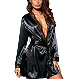 OverDose Damen Frauen Damen Cosplay Silk Kimono Dressing Babydoll Home Party Dessous Luxus Bademantel Nachtwäsche Kleid(Schwarz,EU-36/CN-L )