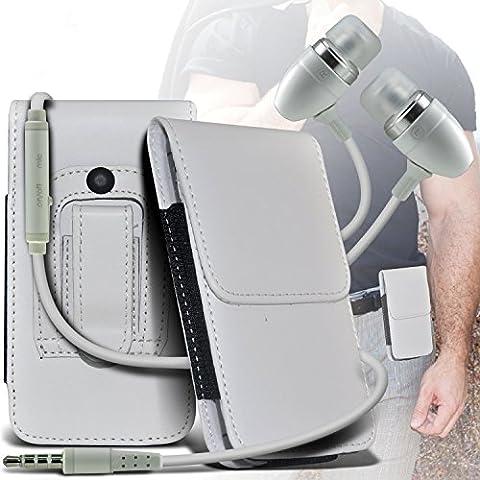 (White) Samsung Galaxy Light Protective PU Leather Belt Holster Pouch Case Cover Holder E di qualità Premium in Ear Buds mani Stereo Headset gratuita Cuffie con microfono incorporato Mic e On-Off Button By Spyrox