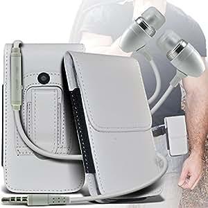 (White) Samsung Galaxy Trend Plus Schutz PU-Leder Gürtelholster Pouch Tasche Halter Und Premium-Qualität in Stereo Earbuds Hands Free Kopfhörer Headset mit Mikrofon Mic On-und Off-Taste Built By Spyrox