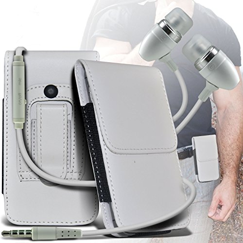 ( WHITE ) LG Marquee Stylish Faux Leather Belt Holster Flip Pouch Case Cover Holder And Premium Quality in Ear Buds Stereo Hands Free Headphones Headset with Built in Microphone Mic and On-Off Button By i-Tronixs