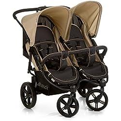 Hauck Roadster Duo SLX - Silla gemelar para gemelos y hermanos de 0 meses hasta 15 kg, con barrera de seguridad, sistema de arnés de 5 puntos, ancho 76 cm, ancho asiento 2 x 31 cm, color Caviar y Almond