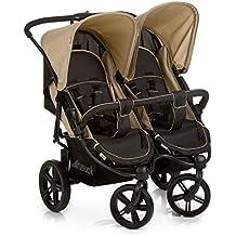 Hauck Roadster Duo SLX Geschwister -/Zwillings - kinderwagen, für Babys und Kleinkinder, nebeneinander, ab Geburt nutzbar (mit Tragetasche), schmal, schnell faltbar, beige/schwarz