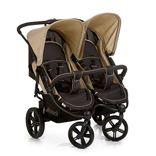 Hauck Roadster Duo SLX, Side by Side Double Pushchair from Birth to 2 x 15 kg, Combinable with hauck 2 in 1 Carrycot for New-Borns, Easy Folding, Black/Beige  Hauck