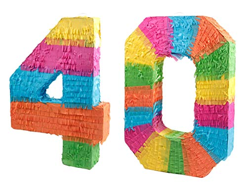 Alsino Pinata Geburtstag Schlagpinata Event Zahlen Hochzeit Jubiläum Partydeko Dekoration Geburtstagsdeko, Zahl wählen:40