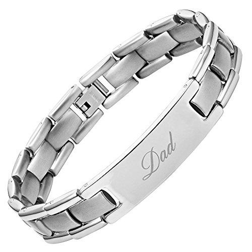 """Willis judd - braccialetto in titanio, motivo: """"dad"""" (papà), incisione: """"best dad ever"""" (il migliore papà di sempre), con confezione regalo e accessorio per la rimozione delle maglie in più"""