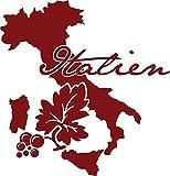 GRAZDesign 630296_57_030 Wandtattoo Wohnzimmer Sticker Italien Länder Welt Karte Stiefel Umriss Wein (59x57cm//030 dunkelrot)