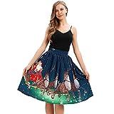 EUZeo Weihnachts Damen Karneval Kostüm Festlich Mini Cocktailkleid Abendkleid Sommerkleider Vintage Ärmellose Abend Party Prom Swing Dress