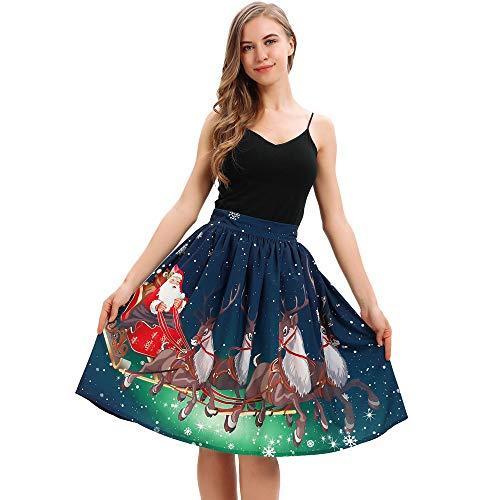 Weihnachten Kleid Piebo Damen Rock Knielanger Weihnachtsmann Cosplay -