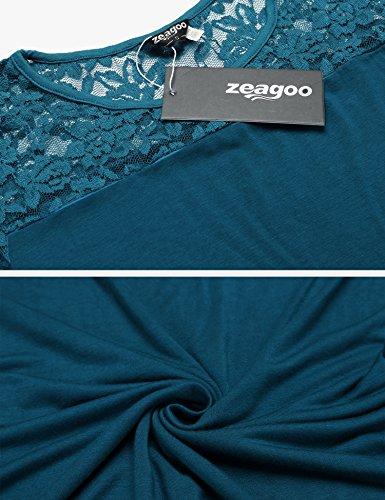 2e6c5b003e8e ... Zeagoo Damen Kurzarm T-Shirt aus Floral Spitze Basic Shirt Spiztenshirt  Tunika Baumwolle Tops Hemd ...