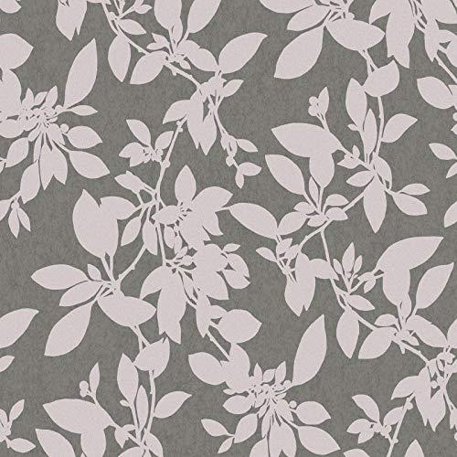 Linden Floral Wallpaper Charcoal/Pink Holden 75851 Linden Wallpaper
