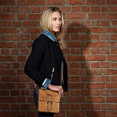 SID & VAIN® sac à bandoulière HENRY unisexe - petit sac en cuir avec sangle style Vintage - sacoche homme et femme en cuir véritable